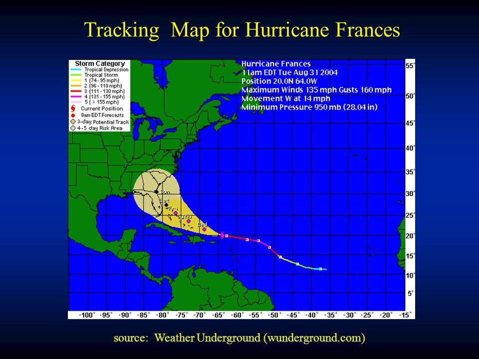 Tracking Map for Hurricane Frances source: Weather Underground (wunderground.com)