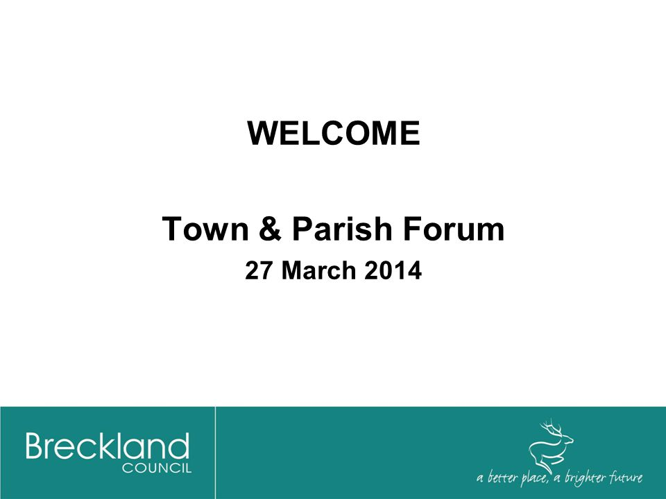 AGENDA Financial Overview Communities Breckland Training Services Norfolk Association of Local Councils Town Council Liaison Arrangements Questions & Answers