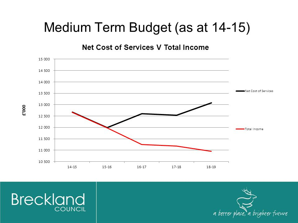 Medium Term Budget (as at 14-15) Outcomes:  2 years balanced budget  2 years freeze on Council Tax levels  Efficiency requirement in 2016-17 reduced to £1.35m compared to £3.33m