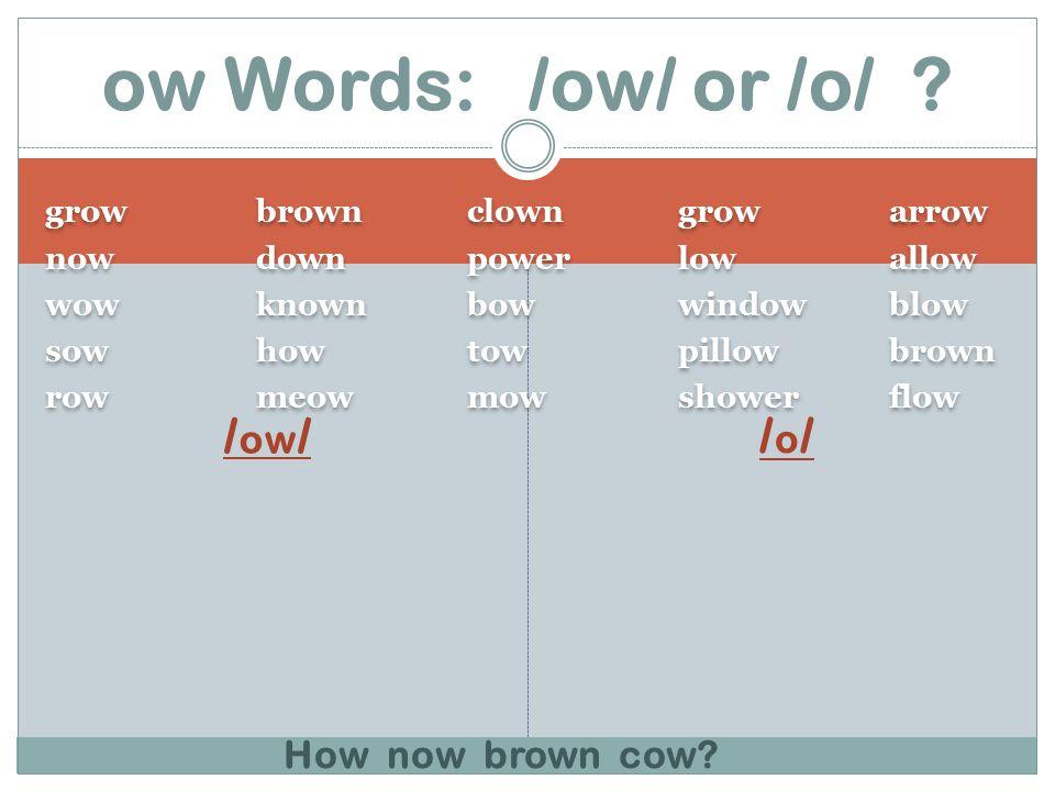 growbrownclowngrowarrow nowdownpowerlowallow wowknownbowwindowblow sowhowtowpillowbrown rowmeowmowshowerflow growbrownclowngrowarrow nowdownpowerlowallow wowknownbowwindowblow sowhowtowpillowbrown rowmeowmowshowerflow / ow / /o//o/ ow Words: /ow/ or /o/ .