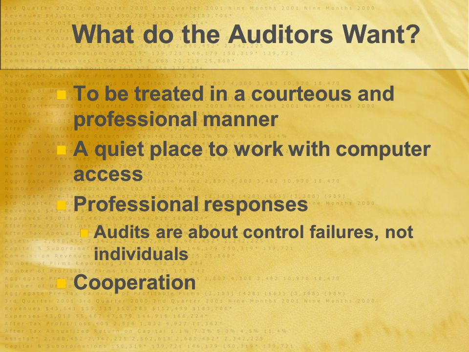 What do the Auditors Want.