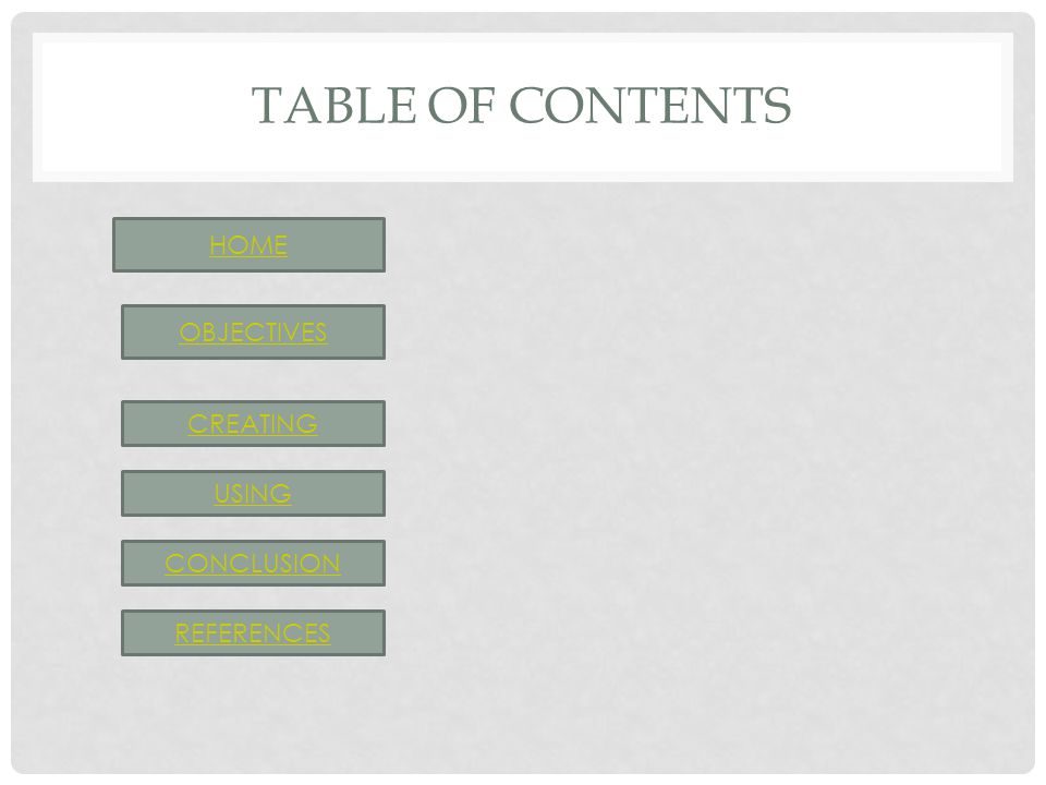 TABLE OF CONTENTS HOME OBJECTIVES CREATING USING CONCLUSION REFERENCES