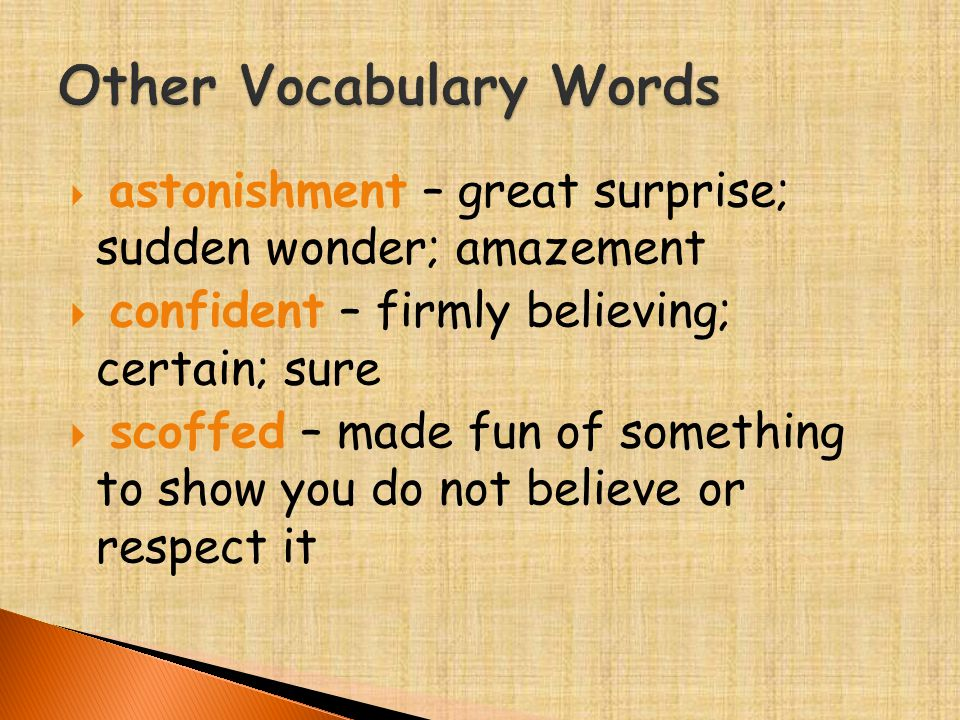  astonishment – great surprise; sudden wonder; amazement  confident – firmly believing; certain; sure  scoffed – made fun of something to show you do not believe or respect it