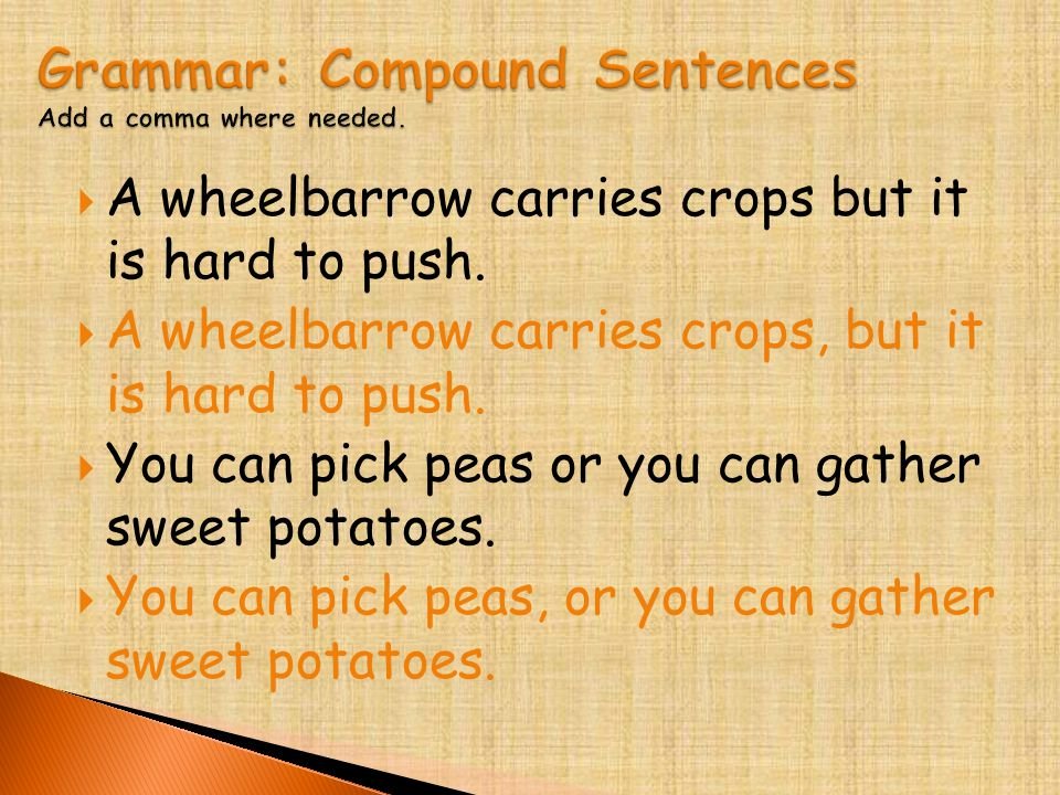  A wheelbarrow carries crops but it is hard to push.  A wheelbarrow carries crops, but it is hard to push.  You can pick peas or you can gather swe