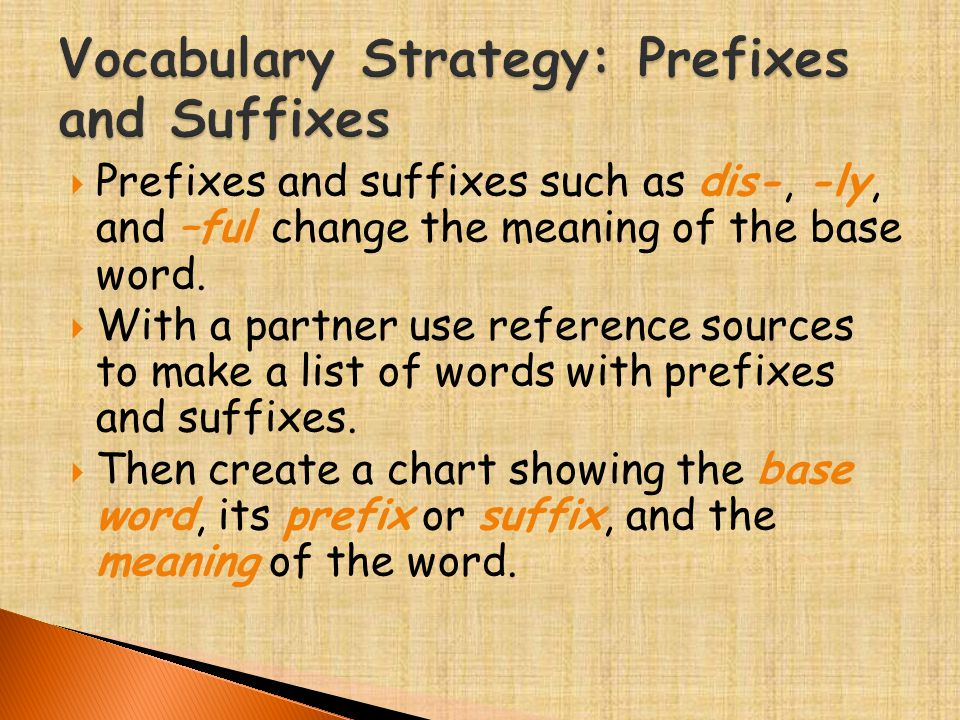  Prefixes and suffixes such as dis-, -ly, and –ful change the meaning of the base word.  With a partner use reference sources to make a list of word