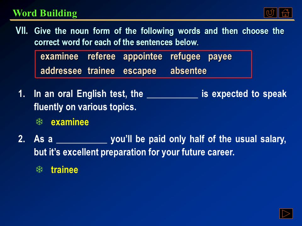 Word Building e.g. employee = a person who is employed Suffix-ee to be added to: verbs to form: nouns to mean: a person to whom the stated action is d
