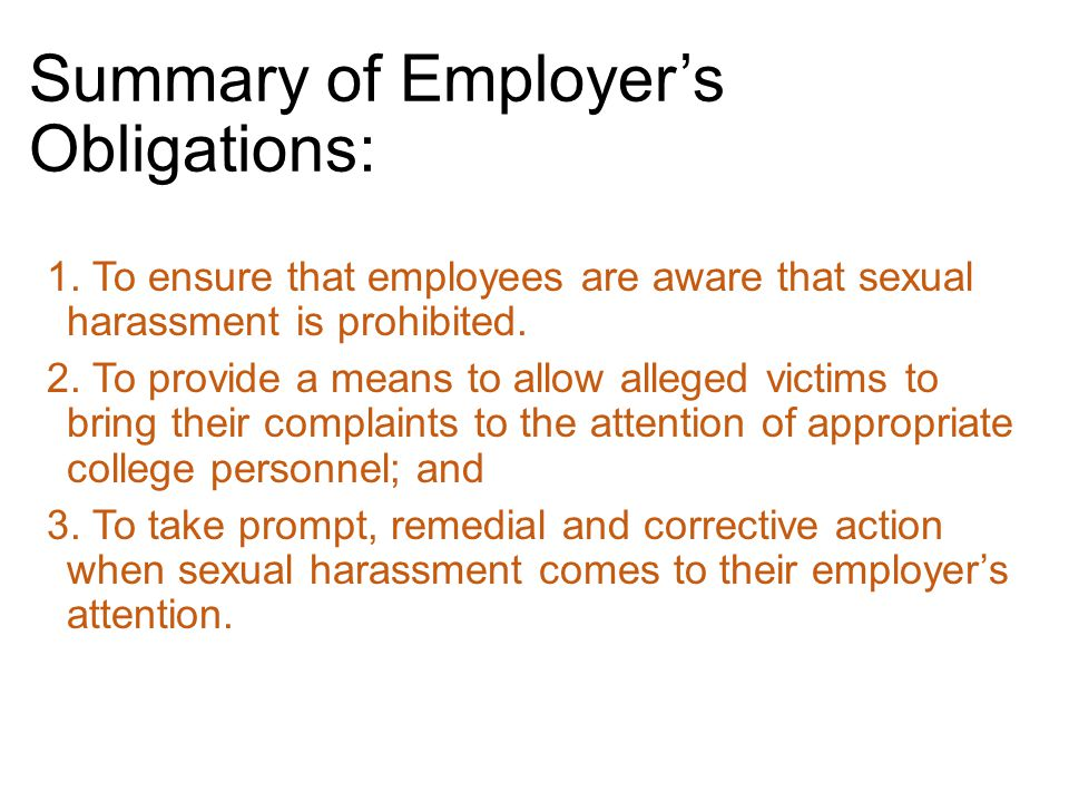 Summary of Employer's Obligations: 1.