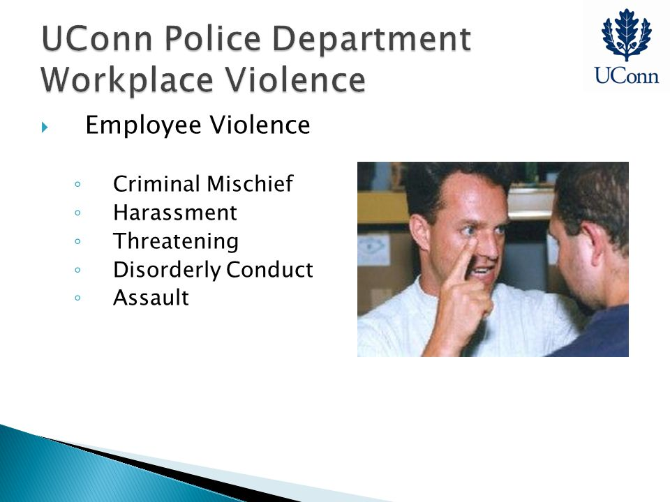 UConn Police Department Workplace Violence  Employee Violence ◦ Criminal Mischief ◦ Harassment ◦ Threatening ◦ Disorderly Conduct ◦ Assault