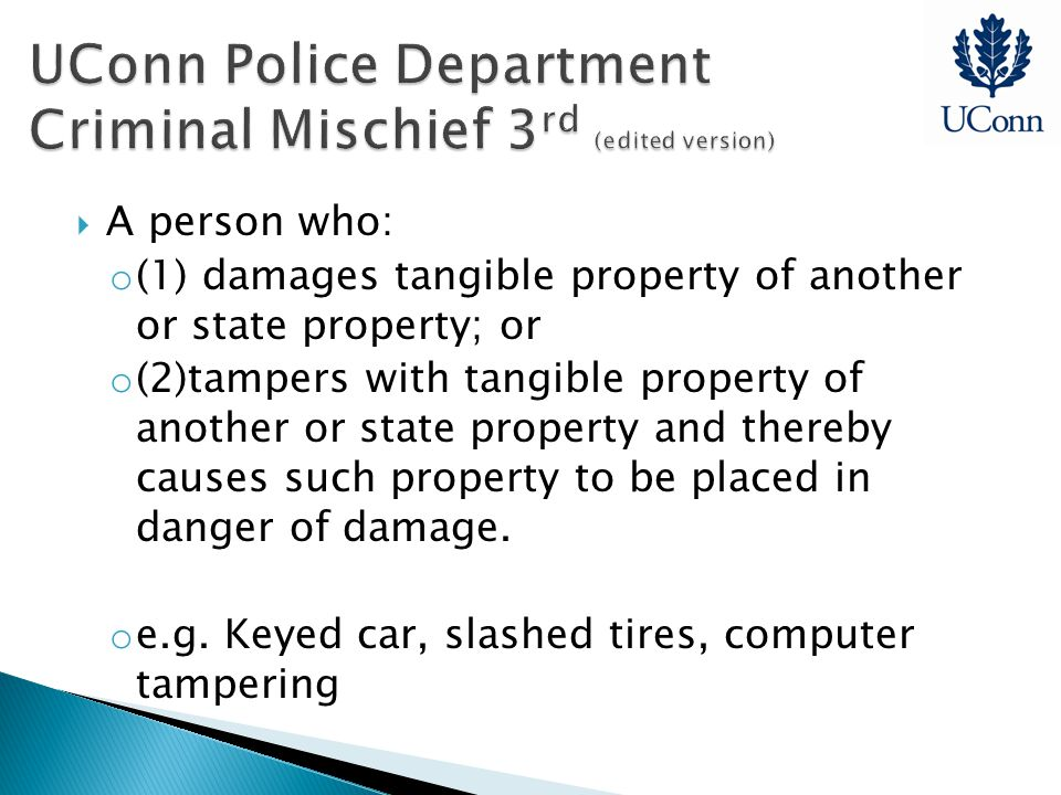  A person who: o (1) damages tangible property of another or state property; or o (2)tampers with tangible property of another or state property and thereby causes such property to be placed in danger of damage.