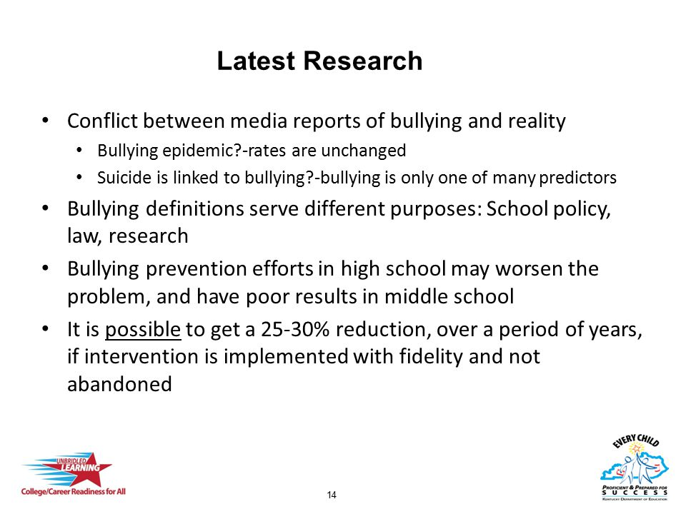 14 Latest Research Conflict between media reports of bullying and reality Bullying epidemic?-rates are unchanged Suicide is linked to bullying?-bullyi