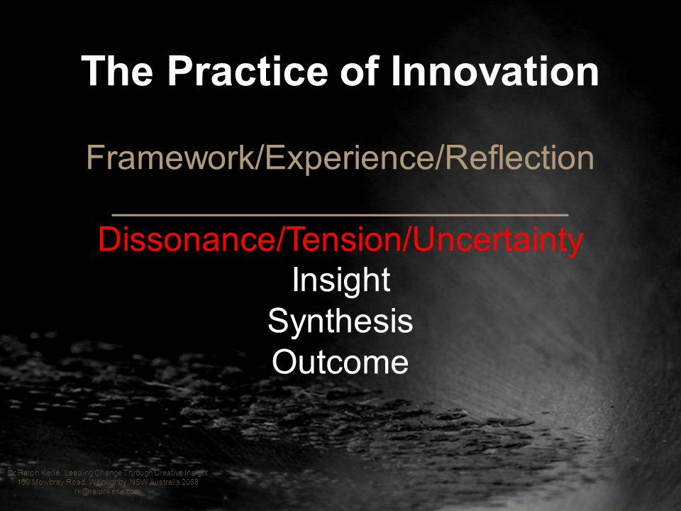The Practice of Innovation Framework/Experience/Reflection ________________________ Dissonance/Tension/Uncertainty Insight Synthesis Outcome Dr Ralph