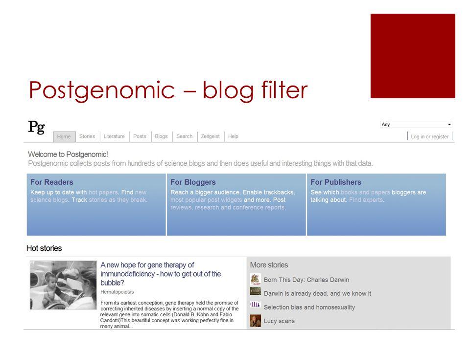 Postgenomic – blog filter