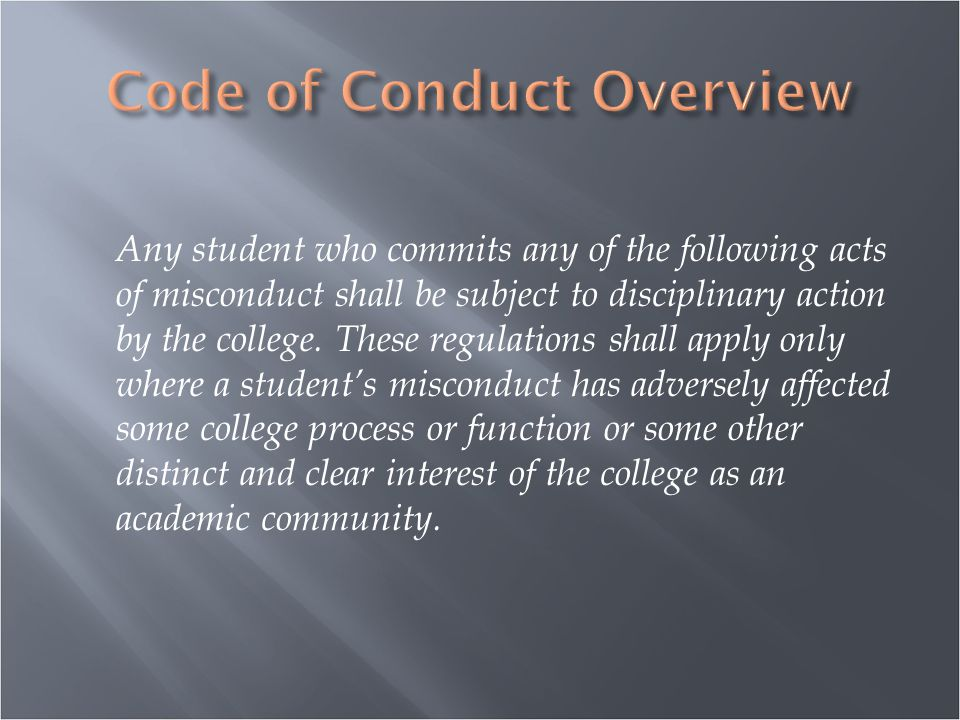 Any student who commits any of the following acts of misconduct shall be subject to disciplinary action by the college.