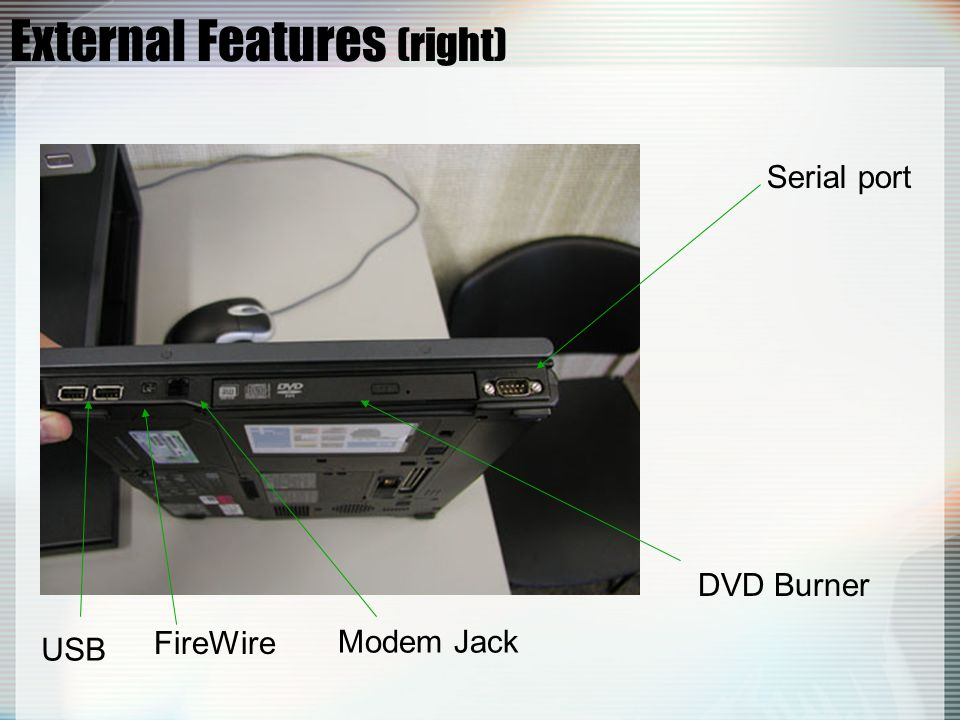 External Features (right) FireWire DVD Burner Modem Jack USB Serial port