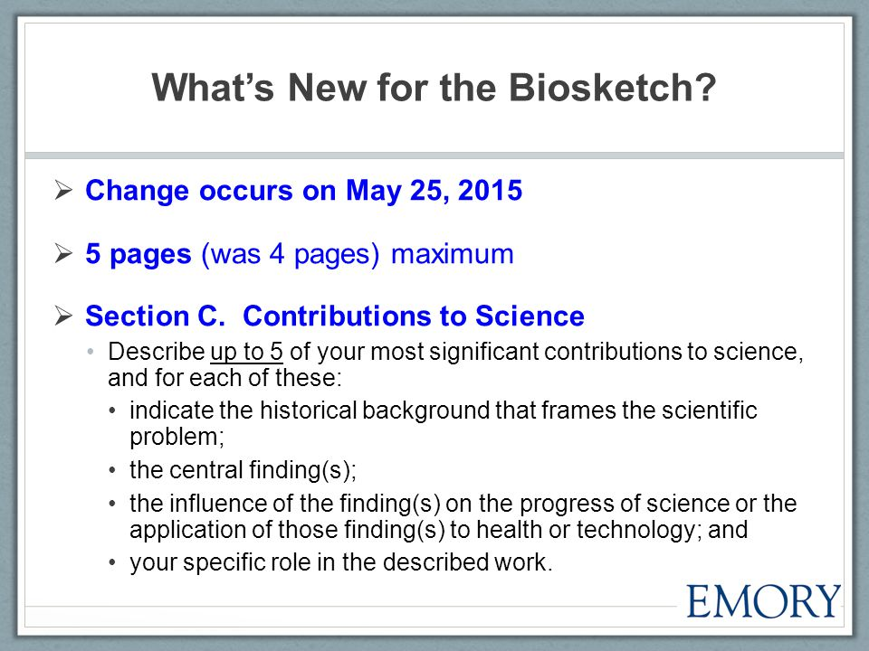 What's New for the Biosketch.