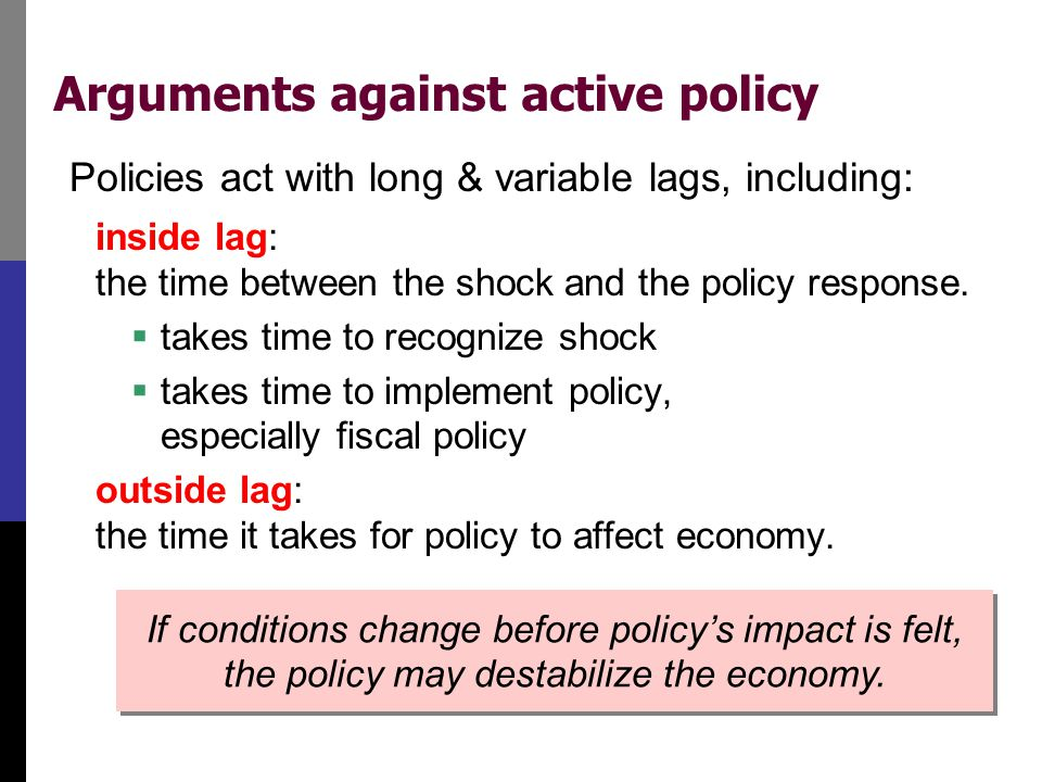 Arguments against active policy Policies act with long & variable lags, including: inside lag: the time between the shock and the policy response.  t