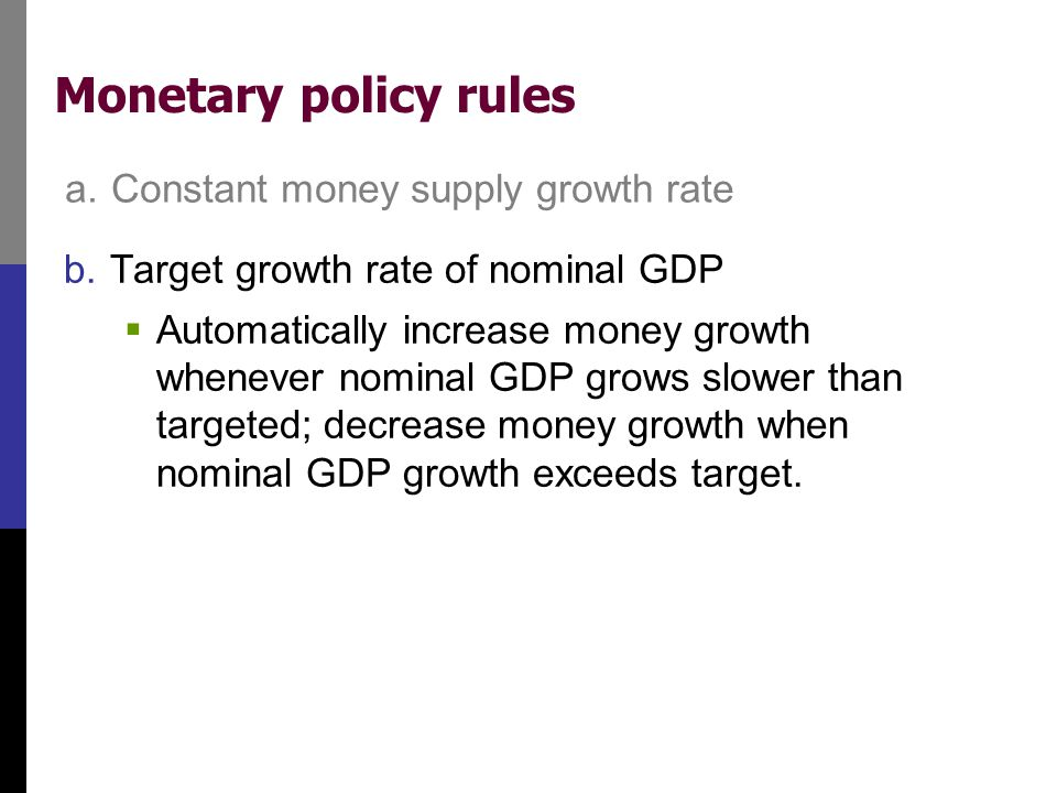 Monetary policy rules b.Target growth rate of nominal GDP  Automatically increase money growth whenever nominal GDP grows slower than targeted; decre