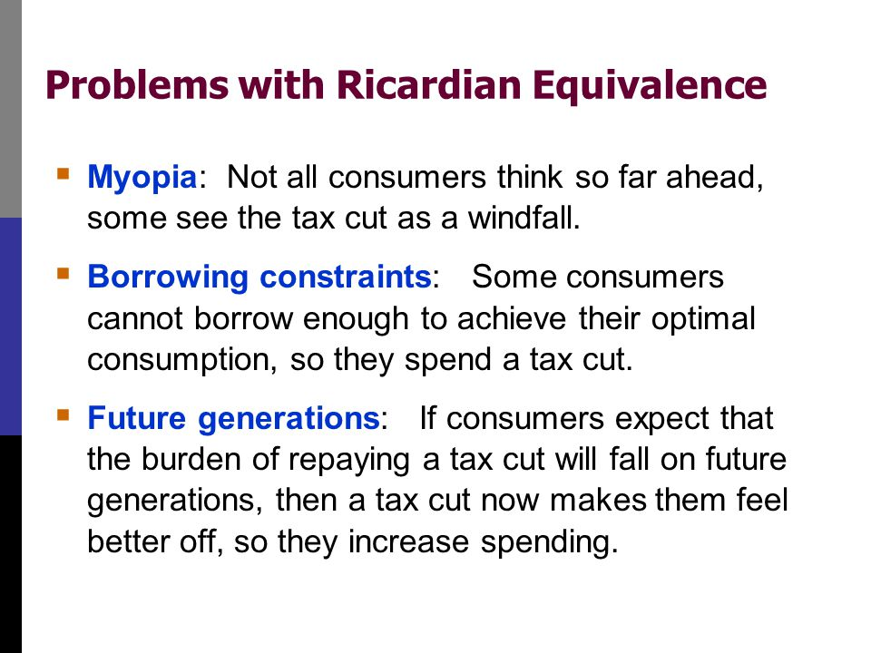 Problems with Ricardian Equivalence  Myopia: Not all consumers think so far ahead, some see the tax cut as a windfall.  Borrowing constraints: Some
