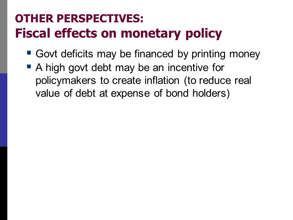 OTHER PERSPECTIVES: Fiscal effects on monetary policy  Govt deficits may be financed by printing money  A high govt debt may be an incentive for pol