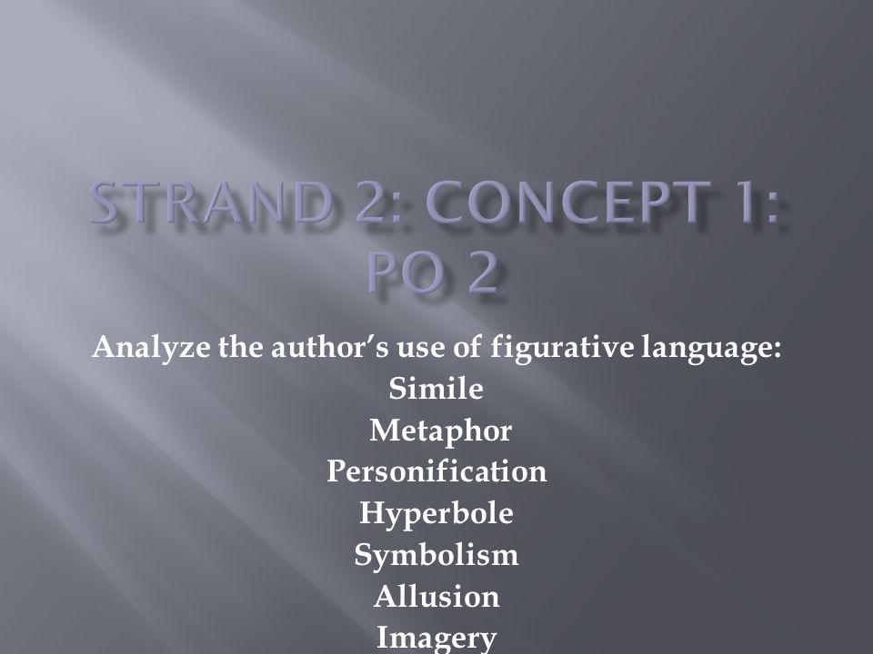 Analyze the author's use of figurative language: Simile Metaphor Personification Hyperbole Symbolism Allusion Imagery