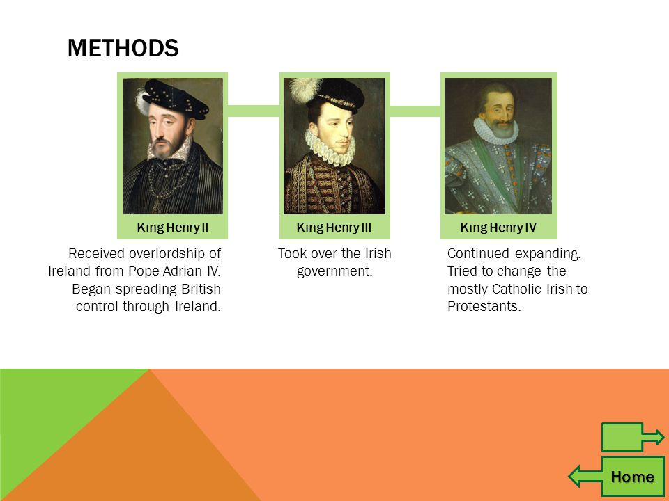 METHODS Home King Henry IIKing Henry III King Henry IV Received overlordship of Ireland from Pope Adrian IV.