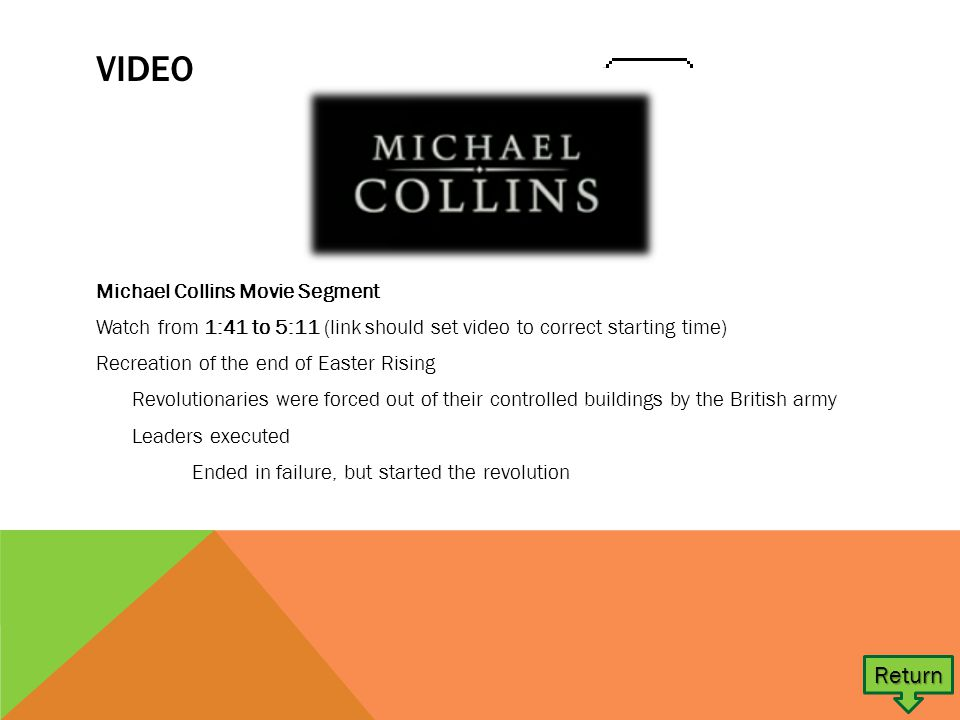 VIDEO Michael Collins Movie Segment Watch from 1:41 to 5:11 (link should set video to correct starting time) Recreation of the end of Easter Rising Revolutionaries were forced out of their controlled buildings by the British army Leaders executed Ended in failure, but started the revolution Return