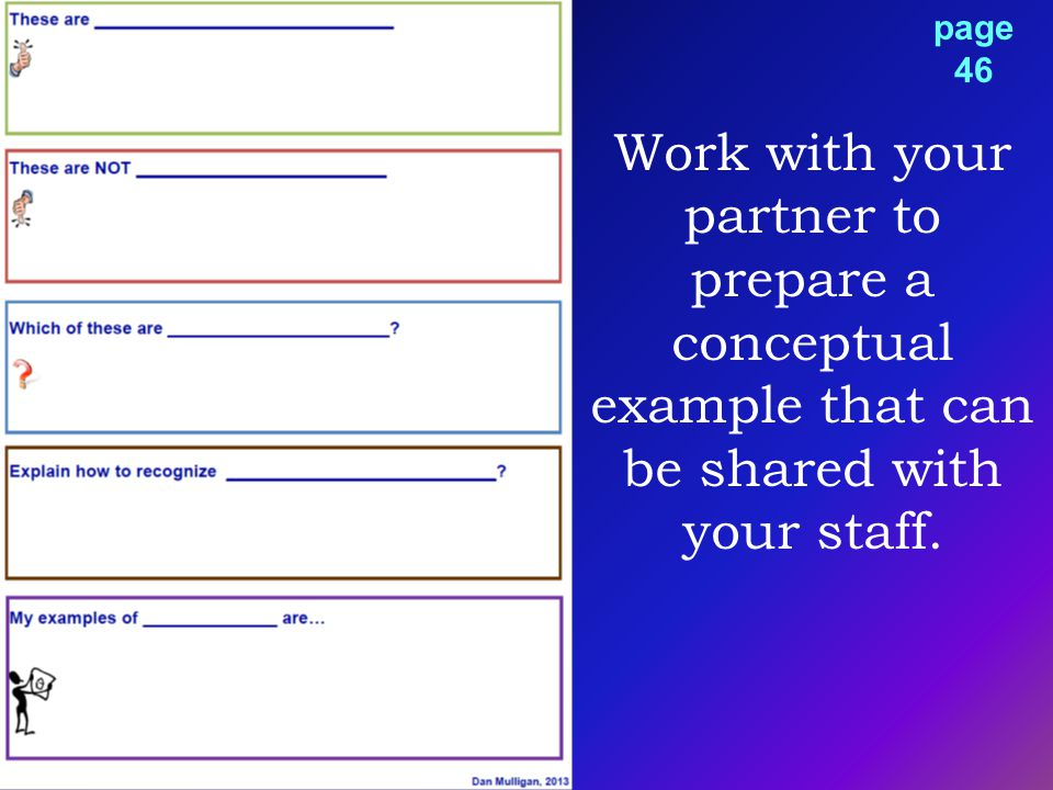 Work with your partner to prepare a conceptual example that can be shared with your staff. page 46