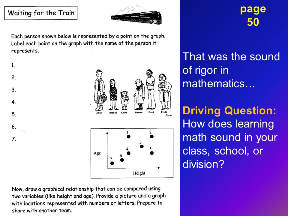 page 50 That was the sound of rigor in mathematics… Driving Question: How does learning math sound in your class, school, or division?