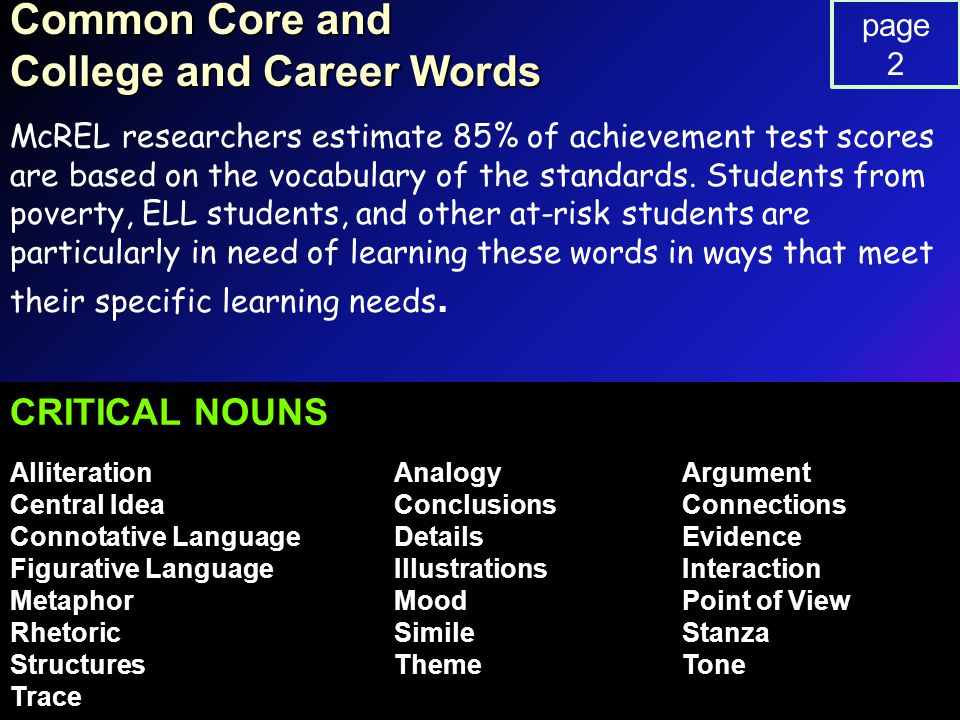 Common Core and College and Career Words McREL researchers estimate 85% of achievement test scores are based on the vocabulary of the standards.