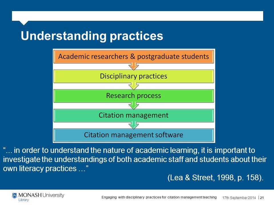 Understanding practices ...