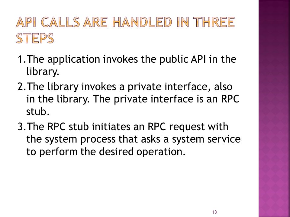 1.The application invokes the public API in the library. 2.The library invokes a private interface, also in the library. The private interface is an R