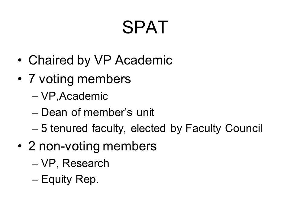 SPAT Chaired by VP Academic 7 voting members –VP,Academic –Dean of member's unit –5 tenured faculty, elected by Faculty Council 2 non-voting members –VP, Research –Equity Rep.