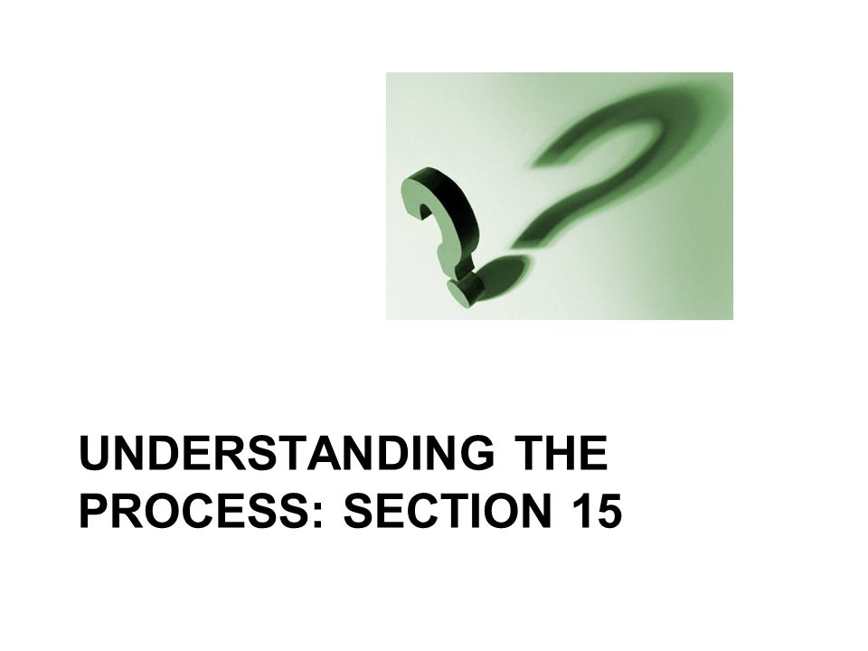 UNDERSTANDING THE PROCESS: SECTION 15