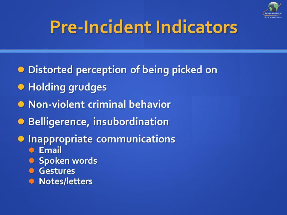 Pre-Incident Indicators Distorted perception of being picked on Distorted perception of being picked on Holding grudges Holding grudges Non-violent cr