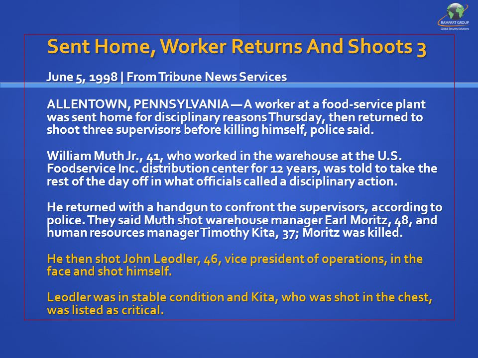 Sent Home, Worker Returns And Shoots 3 June 5, 1998 | From Tribune News Services June 5, 1998 | From Tribune News Services ALLENTOWN, PENNSYLVANIA — A worker at a food-service plant was sent home for disciplinary reasons Thursday, then returned to shoot three supervisors before killing himself, police said.