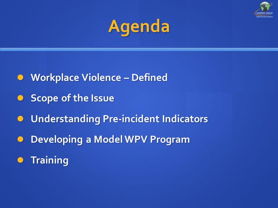 Agenda Workplace Violence – Defined Workplace Violence – Defined Scope of the Issue Scope of the Issue Understanding Pre-incident Indicators Understan