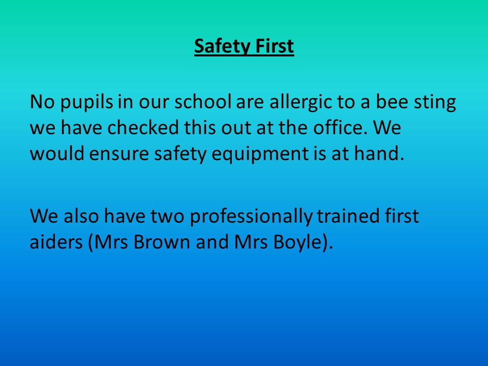 Safety First No pupils in our school are allergic to a bee sting we have checked this out at the office.