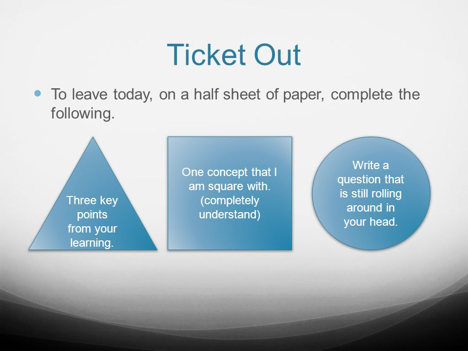 Ticket Out To leave today, on a half sheet of paper, complete the following. Three key points from your learning. One concept that I am square with. (