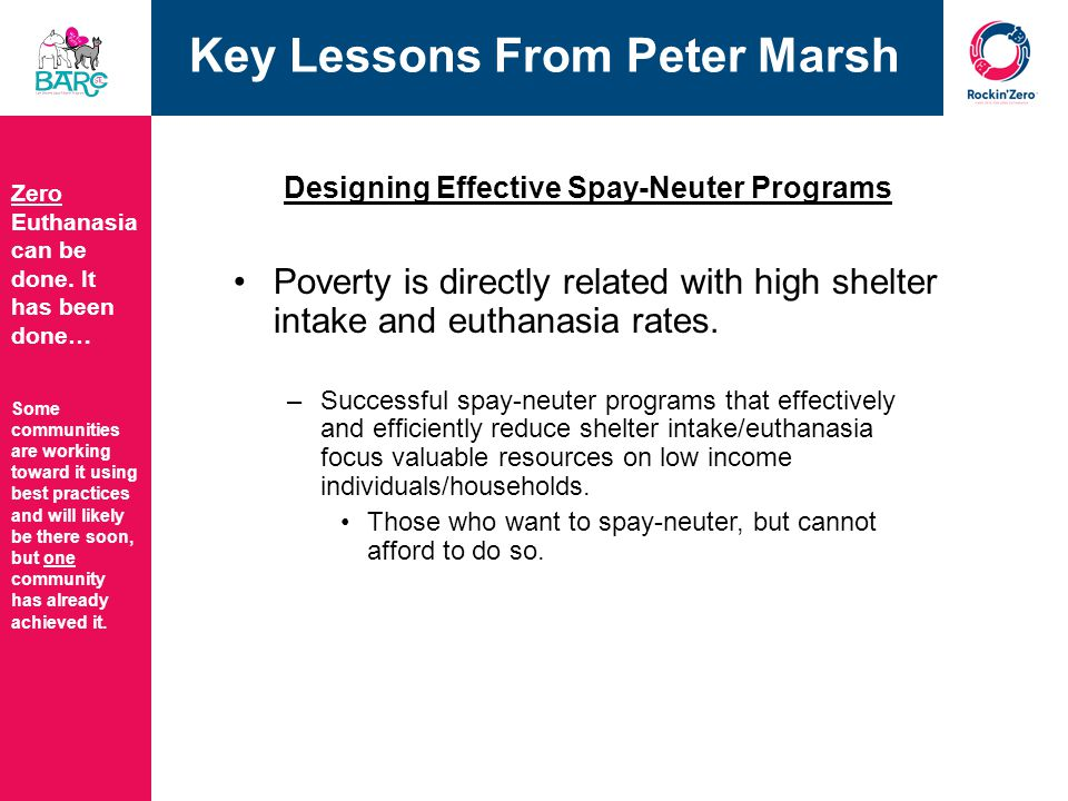 Key Lessons From Peter Marsh Designing Effective Spay-Neuter Programs Poverty is directly related with high shelter intake and euthanasia rates.