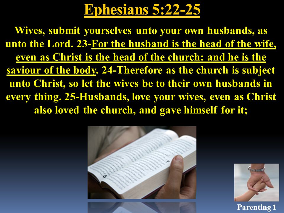 Ephesians 5:22-25 Wives, submit yourselves unto your own husbands, as unto the Lord.