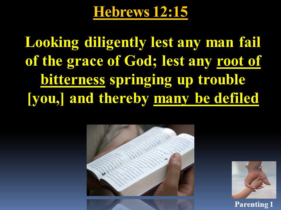 Hebrews 12:15 Looking diligently lest any man fail of the grace of God; lest any root of bitterness springing up trouble [you,] and thereby many be defiled Parenting 1
