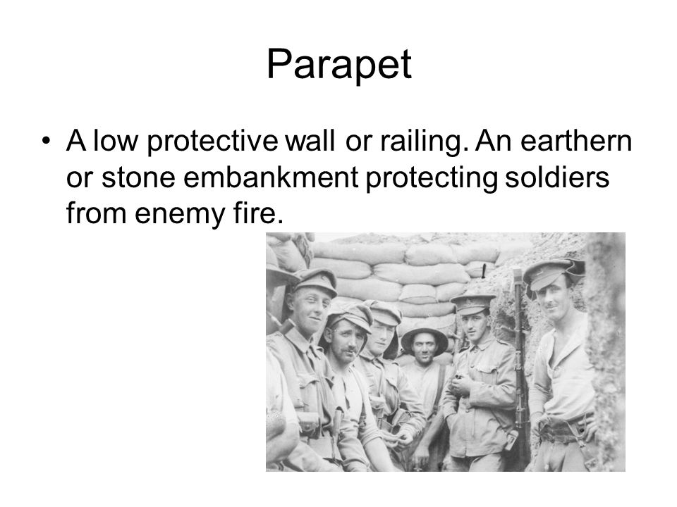 Parapet A low protective wall or railing.