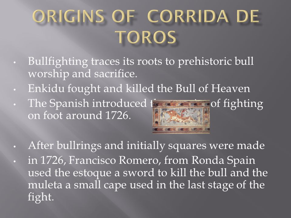 Bullfighting traces its roots to prehistoric bull worship and sacrifice.