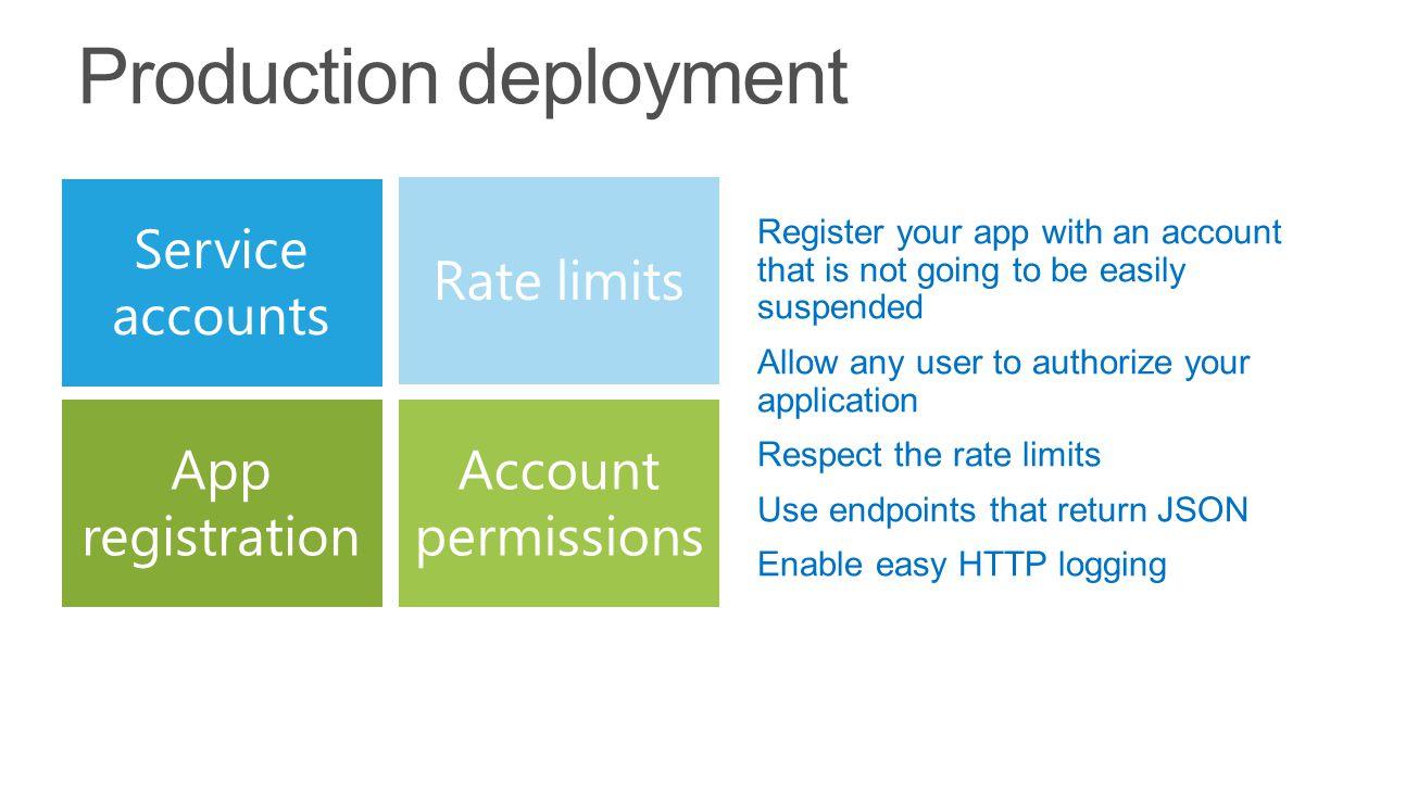 Service accounts Rate limits App registration Account permissions