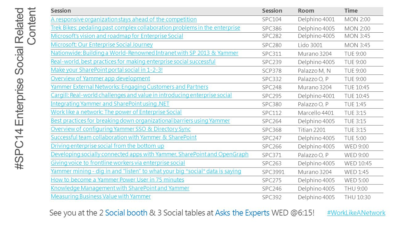 See you at the 2 Social booth & 3 Social tables at Asks the Experts WED @6:15.