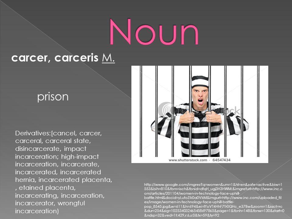 carcer, carceris M. prison Derivatives:[cancel, carcer, carceral, carceral state, disincarcerate, impact incarceration; high-impact incarceration, inc