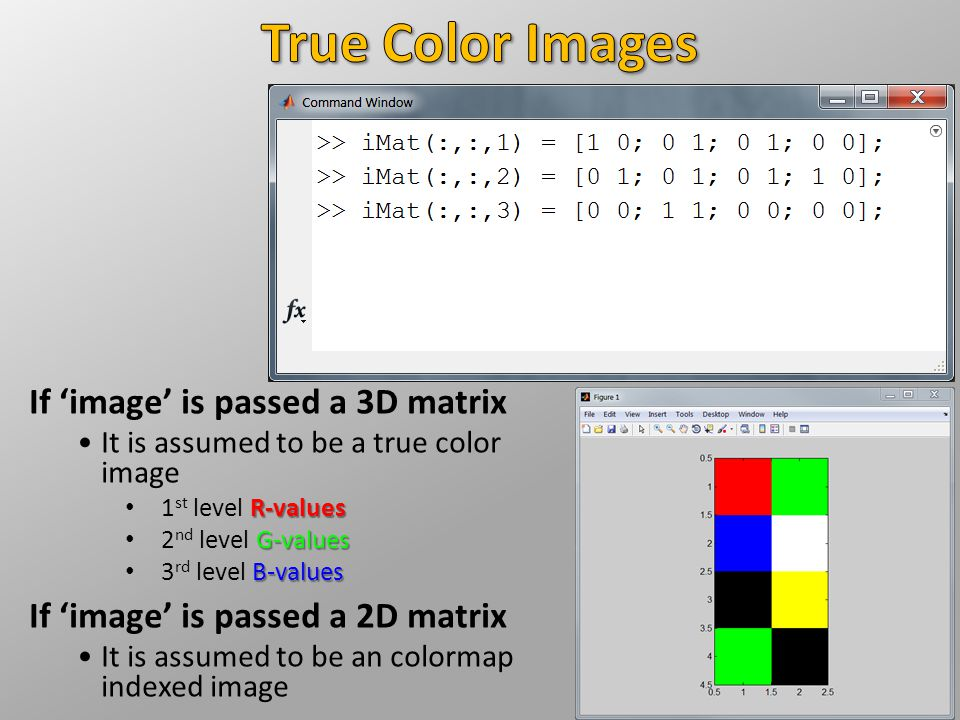 If 'image' is passed a 3D matrix It is assumed to be a true color image R-values 1 st level R-values G-values 2 nd level G-values B-values 3 rd level B-values If 'image' is passed a 2D matrix It is assumed to be an colormap indexed image