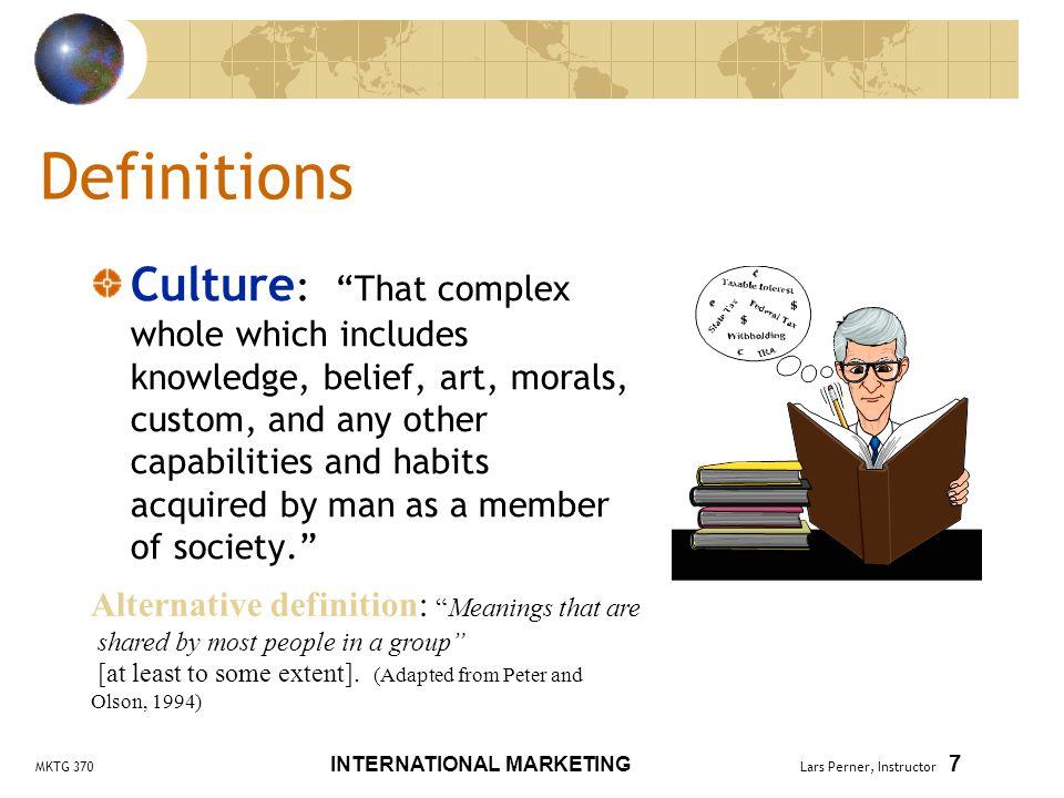 MKTG 370 INTERNATIONAL MARKETING Lars Perner, Instructor 8 Hofstede's Cultural Dimensions Individualism (vs.