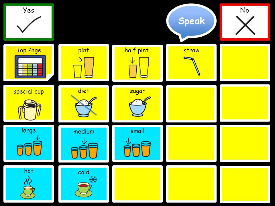 Speak Yes Top Page No Yes No pint medium straw dietsugar large special cup half pint small Delete Word Clear Top Page cold hot