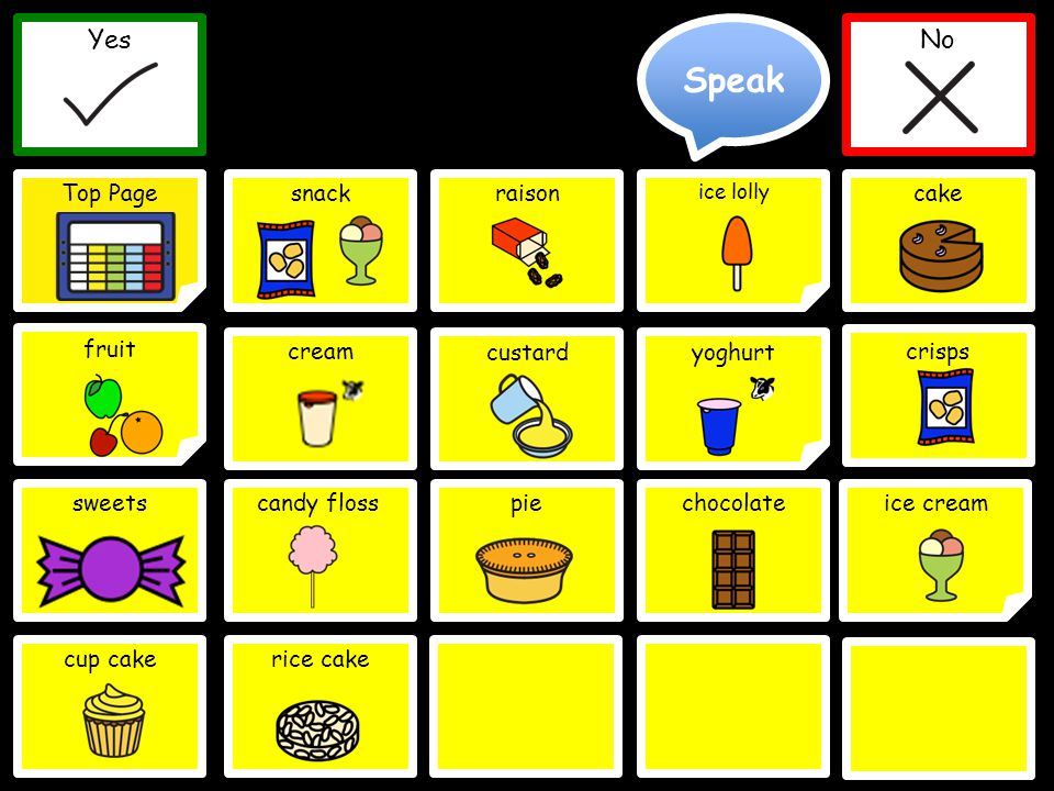 Speak Yes Top Page No Yes No snack cream ice lolly cake Delete Word Clear Top Page yoghurt beer sweetscandy floss custard ice cream crisps raison chocolate fruit pie cup cakerice cake